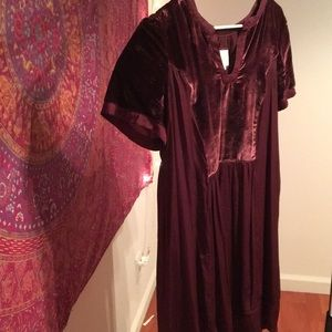 Maroon dress with velvet on the top